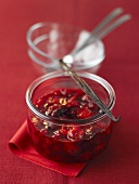 Home-made red fruit compote with vanilla pod