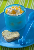 Quark with mandarin oranges & heart-shaped bread & butter