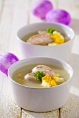 Zurek (Easter soup with boiled eggs and sausage, Poland)