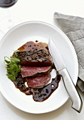 Grilled fillet steak with pepper sauce