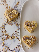 Heart-shaped biscuits with flowers