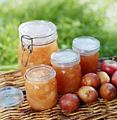 Home-made plum and apple jam