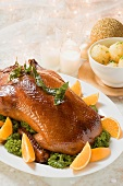 Roast duck with potato dumplings for Christmas