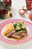 Goose breast with potato croquettes & broccoli (Christmas)
