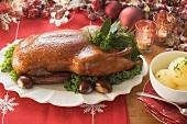 Gänsebraten und Kartoffelklösse zu Weihnachten