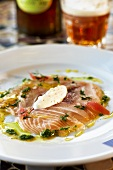 Carpaccio of organic salmon with mustard vinaigrette