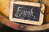 'Syrah' written on slate board, Leukersonne Winery, Switzerland