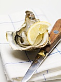 Half an oyster with lemon and knife on tea towel