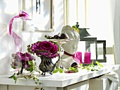 Glass cover, ornamental cabbage, bust & lantern on drawers