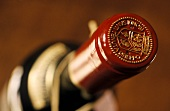 Close-up of bottle of Biondi Santi Brunello di Montalcino, Italy