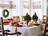 Table laid for Christmas brunch