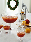 Pomegranate punch with tangerines for Christmas