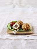 Blue cheese balls with grapes and chopped pecans