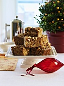 Several pieces of coffee cake for Christmas brunch