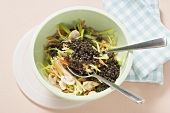 Beluga lentils with leeks, carrots and mushrooms