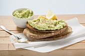 Avocado spread on wholemeal bread