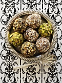 Assorted chocolate truffles in silver bowl