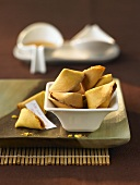 A dish of fortune cookies