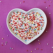 Heart-shaped dish of hundreds and thousands