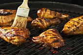 Brushing pieces of guinea fowl on barbecue with marinade