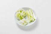Leeks, cut into rings and strips