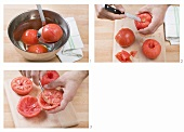Skinning and deseeding tomatoes