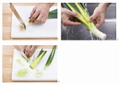 Cleaning and slicing a leek