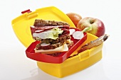 Salami and cheese sandwich for school packed lunch