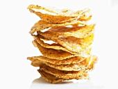Spicy potato crisps, stacked