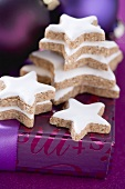 Several cinnamon stars on Christmas parcel
