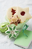 Assorted Christmas biscuits in paper case
