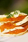 Poppadoms with trout caviar