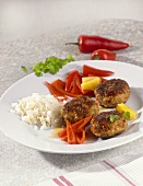 Turkey burgers with rice and chillies
