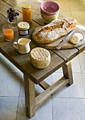 Cheese, bread, milk, jam on rustic wooden table