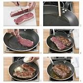 Frying beef steaks