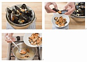 Taking cooked mussels out of their shells