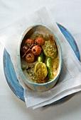 Fiori di zucchini ripieni al forno (Gefüllte Zucchiniblüten)