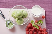Kiwi fruit ice cream and fresh raspberries
