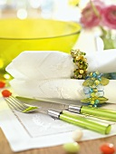 Fabric napkins with different napkin rings for Easter