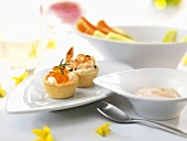 Caviar and prawn appetisers for Easter