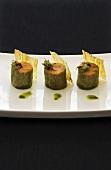 Three salmon rolls