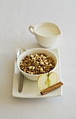 Muesli with milk and apple