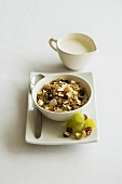 Fruit muesli with grapes and milk