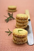 Rosemary biscotti with sesame seeds