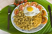 Mashed plantain with fried egg (Ecuador)