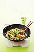 Stir-fried Asian egg noodles (Hokkien) with vegetables & cashews