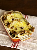 Carrot and mushroom lasagne in a baking dish