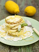 Mini-pancake tower with lemon cream