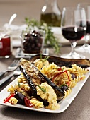 Fusilli with aubergines, red wine