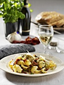 Pasta shells with anchovies and olives